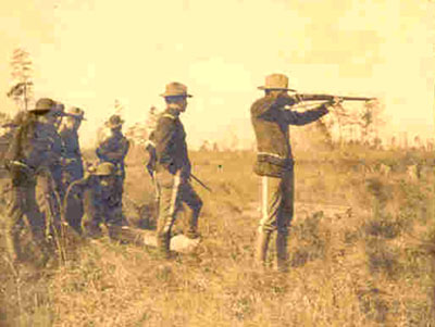 Officers of the qst Territorial Volunteer Infamtry on the Target Range