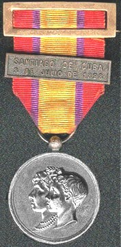 Front - Spanish American War Naval Medal Issed by Spain, 1898