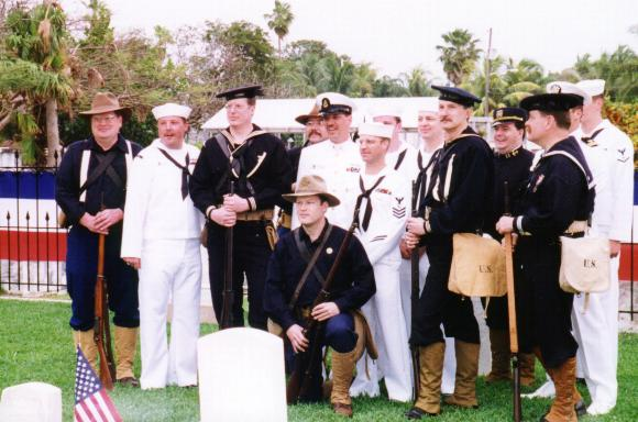 The modern and the receated 1898 crews of the USS MAINE, together