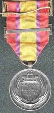Back - Spanish American War Naval Medal Issed by Spain, 1898