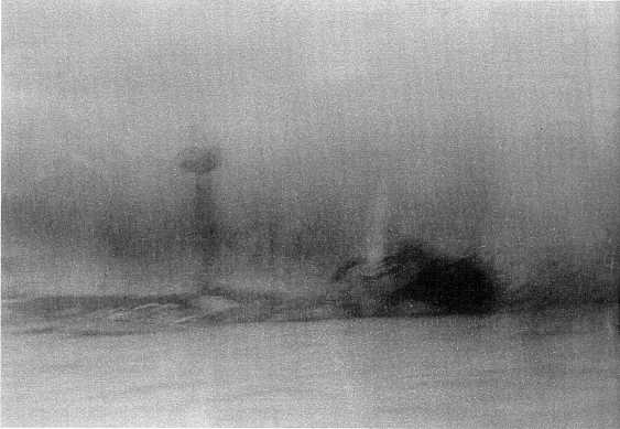 An actual photo of the explosion on the USS MAINE