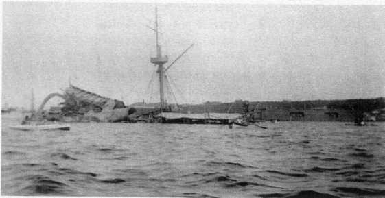 Goñi 's photograph of the destroyed MAINE courtesy of Jose Poncet