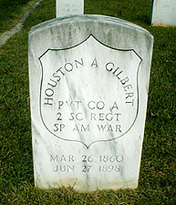 Grave of Houston A. Gilbert, 2nd South Carolina Volunteer Infantry in South Carolina